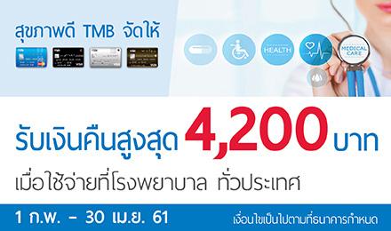 สุขภาพดี TMB จัดให้ รับเงินคืนสูงสุด 4,200 บาท