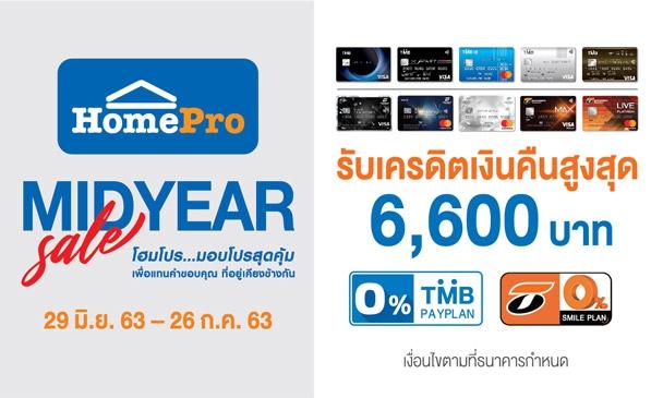HomePro Mid Year Sale รับเครดิตเงินคืนสูงสุด 6,600 บาท